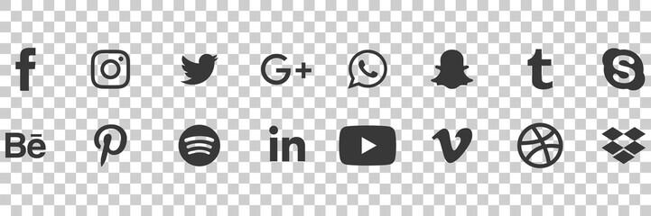 Facebook, twitter, instagram, youtube, linkedin, vimeo. Social media icons. Realistic set. Vector illustration. Vinnitsa, Ukraine - April 21, 2020