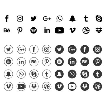 Facebook, twitter, instagram, youtube, linkedin, vimeo. Social media icons. Realistic set. Vector illustration. Vinnitsa, Ukraine - April 21, 2020