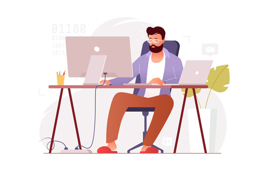 Programmer works at home at the computer. Remote work in the home office. IT specialist freelancer. Colorful vector illustration in flat cartoon style.
