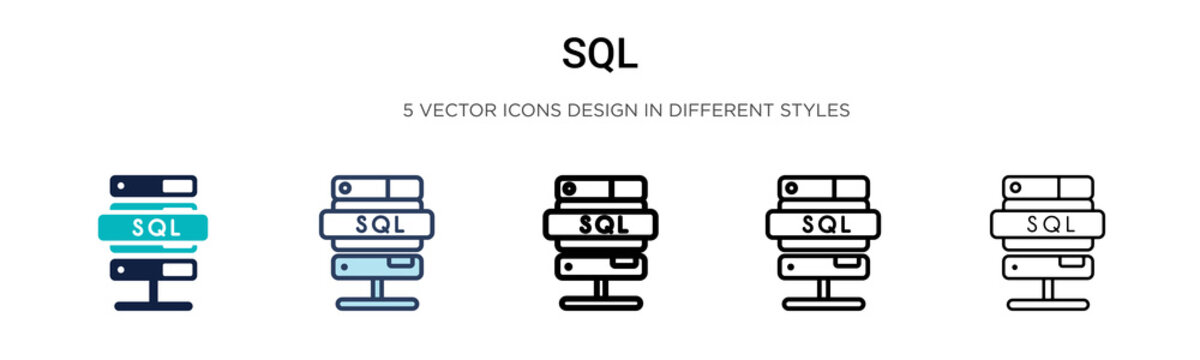 Sql icon in filled, thin line, outline and stroke style. Vector illustration of two colored and black sql vector icons designs can be used for mobile, ui,