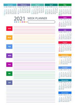 2021 Week Planner Calendar. Colorful design. Week starts sunday 2