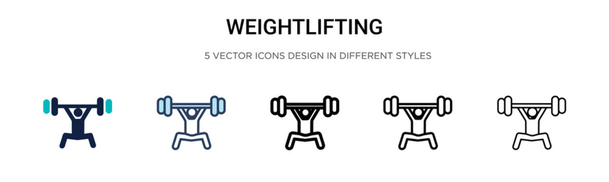 Weightlifting icon in filled, thin line, outline and stroke style. Vector illustration of two colored and black weightlifting vector icons designs can be used for mobile, ui,