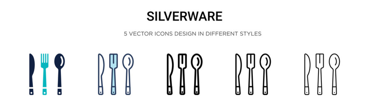 Silverware icon in filled, thin line, outline and stroke style. Vector illustration of two colored and black silverware vector icons designs can be used for mobile, ui,