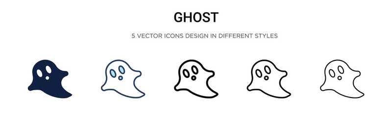 Ghost icon in filled, thin line, outline and stroke style. Vector illustration of two colored and black ghost vector icons designs can be used for mobile, ui, Wall mural