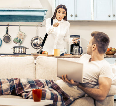 woman Angry With her husband At Home