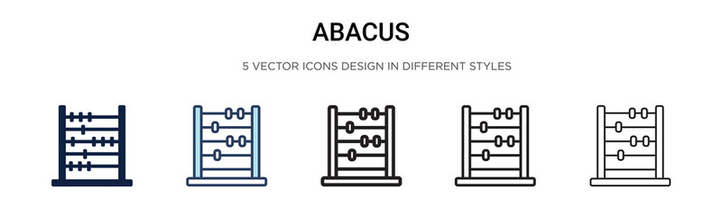 Abacus icon in filled, thin line, outline and stroke style. Vector illustration of two colored and black abacus vector icons designs can be used for mobile, ui,