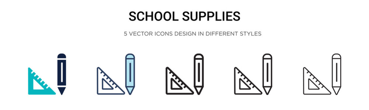 School supplies icon in filled, thin line, outline and stroke style. Vector illustration of two colored and black school supplies vector icons designs can be used for mobile, ui,