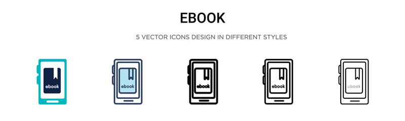 Ebook icon in filled, thin line, outline and stroke style. Vector illustration of two colored and black ebook vector icons designs can be used for mobile, ui,