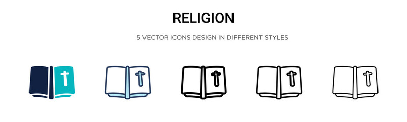 Religion icon in filled, thin line, outline and stroke style. Vector illustration of two colored and black religion vector icons designs can be used for mobile, ui, Fotomurales