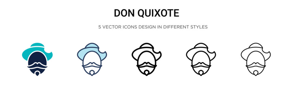 Don quixote icon in filled, thin line, outline and stroke style. Vector illustration of two colored and black don quixote vector icons designs can be used for mobile, ui,