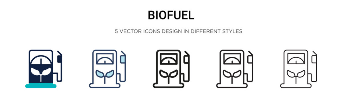 Biofuel icon in filled, thin line, outline and stroke style. Vector illustration of two colored and black biofuel vector icons designs can be used for mobile, ui,