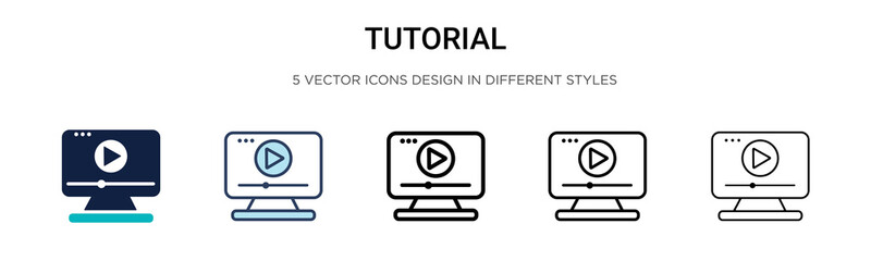Tutorial icon in filled, thin line, outline and stroke style. Vector illustration of two colored and black tutorial vector icons designs can be used for mobile, ui,
