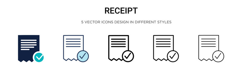 Receipt icon in filled, thin line, outline and stroke style. Vector illustration of two colored and black receipt vector icons designs can be used for mobile, ui,