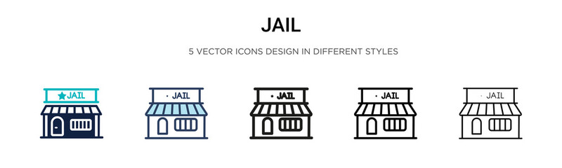Jail icon in filled, thin line, outline and stroke style. Vector illustration of two colored and black jail vector icons designs can be used for mobile, ui,