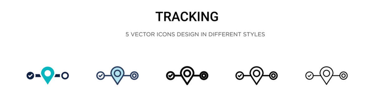 Tracking icon in filled, thin line, outline and stroke style. Vector illustration of two colored and black tracking vector icons designs can be used for mobile, ui,