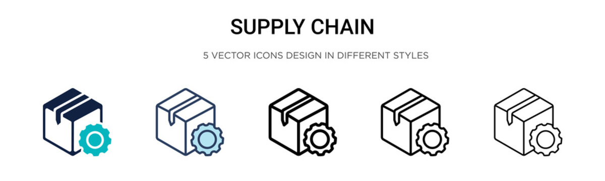 Supply chain icon in filled, thin line, outline and stroke style. Vector illustration of two colored and black supply chain vector icons designs can be used for mobile, ui,