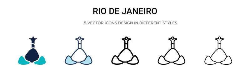 Rio de janeiro icon in filled, thin line, outline and stroke style. Vector illustration of two colored and black rio de janeiro vector icons designs can be used for mobile, ui, Fotomurales