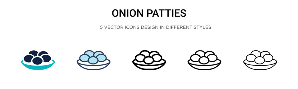 Onion patties icon in filled, thin line, outline and stroke style. Vector illustration of two colored and black onion patties vector icons designs can be used for mobile, ui,