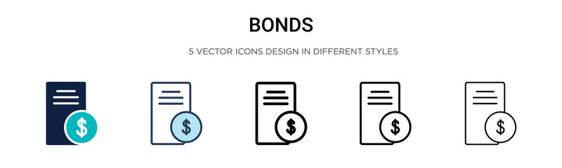 Bonds icon in filled, thin line, outline and stroke style. Vector illustration of two colored and black bonds vector icons designs can be used for mobile, ui, Fotobehang
