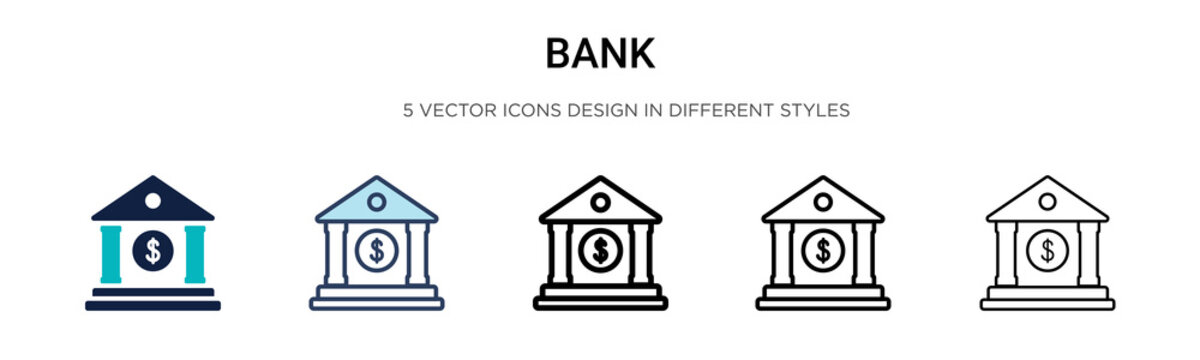 Bank icon in filled, thin line, outline and stroke style. Vector illustration of two colored and black bank vector icons designs can be used for mobile, ui,