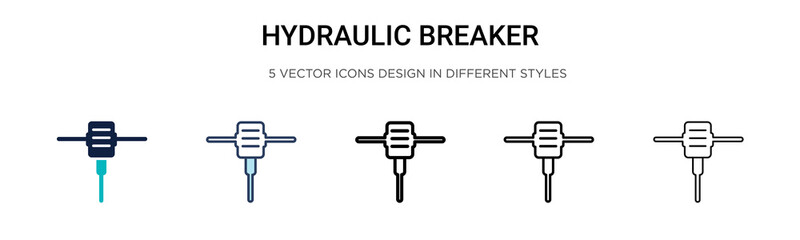 Hydraulic breaker icon in filled, thin line, outline and stroke style. Vector illustration of two colored and black hydraulic breaker vector icons designs can be used for mobile, ui, Wall mural