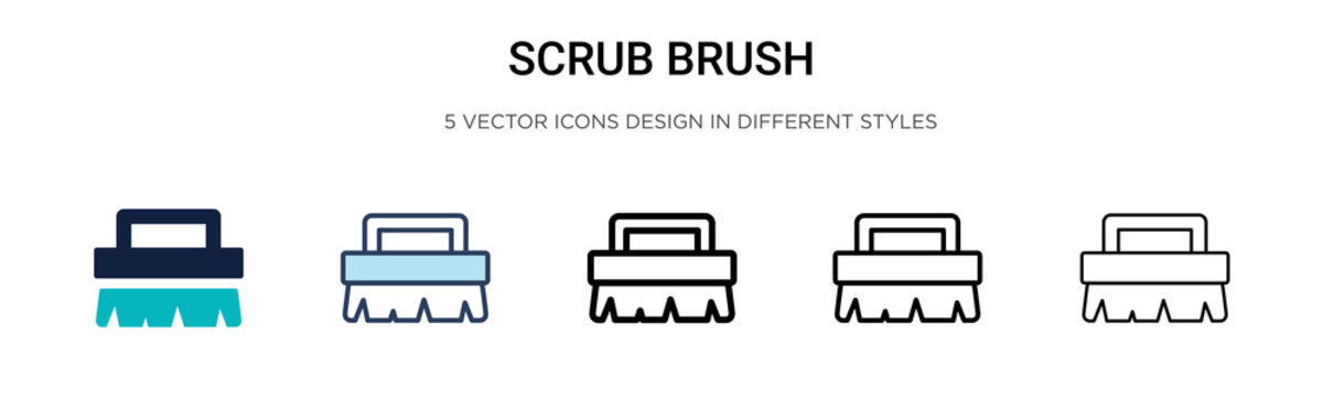 Scrub brush icon in filled, thin line, outline and stroke style. Vector illustration of two colored and black scrub brush vector icons designs can be used for mobile, ui,