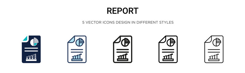 Report icon in filled, thin line, outline and stroke style. Vector illustration of two colored and black report vector icons designs can be used for mobile, ui,
