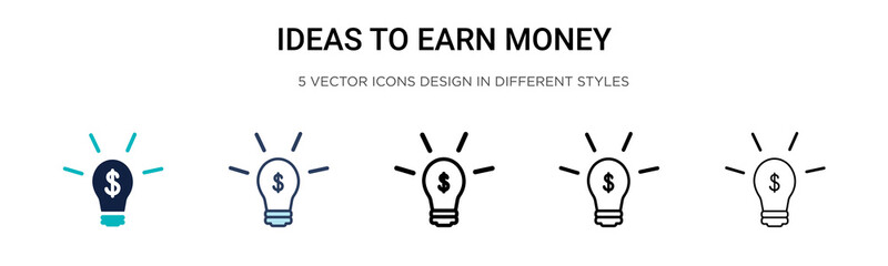 Ideas to earn money icon in filled, thin line, outline and stroke style. Vector illustration of two colored and black ideas to earn money vector icons designs can be used for mobile, ui,