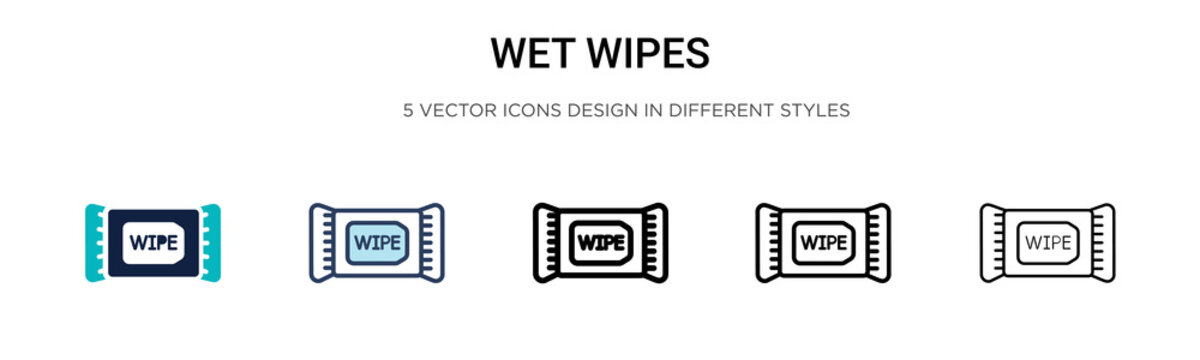 Wet wipes icon in filled, thin line, outline and stroke style. Vector illustration of two colored and black wet wipes vector icons designs can be used for mobile, ui,