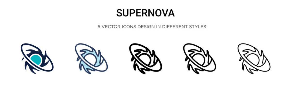Supernova icon in filled, thin line, outline and stroke style. Vector illustration of two colored and black supernova vector icons designs can be used for mobile, ui,