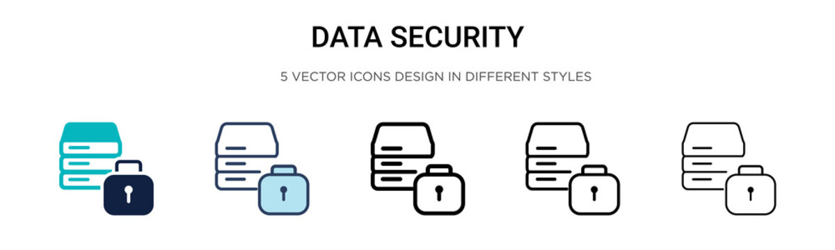 Data security icon in filled, thin line, outline and stroke style. Vector illustration of two colored and black data security vector icons designs can be used for mobile, ui,