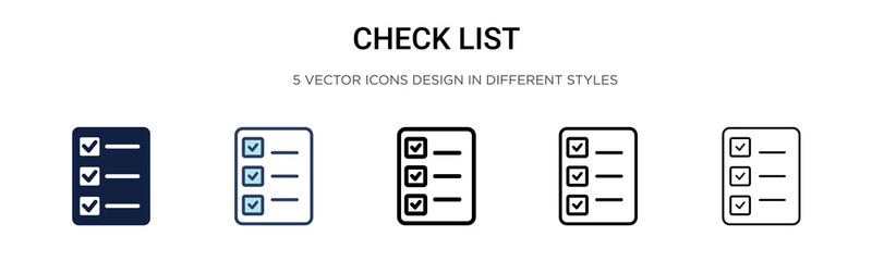 Check list icon in filled, thin line, outline and stroke style. Vector illustration of two colored and black check list vector icons designs can be used for mobile, ui,