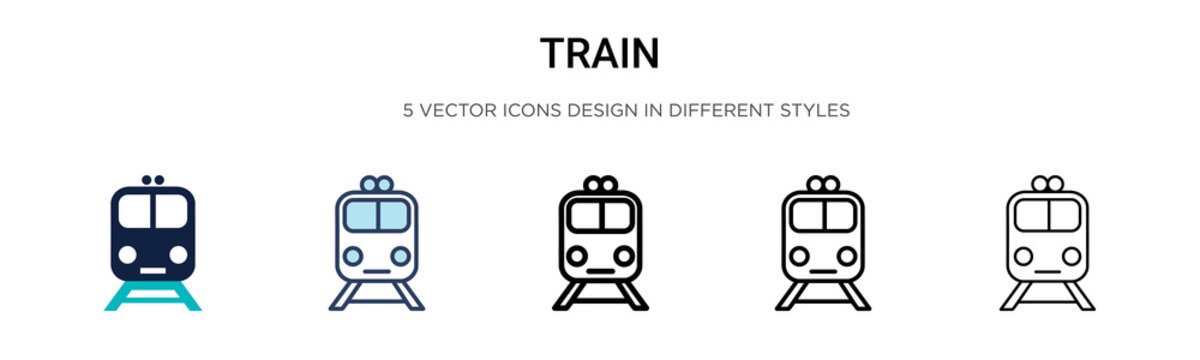 Train icon in filled, thin line, outline and stroke style. Vector illustration of two colored and black train vector icons designs can be used for mobile, ui,