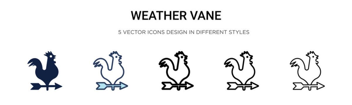 Weather vane icon in filled, thin line, outline and stroke style. Vector illustration of two colored and black weather vane vector icons designs can be used for mobile, ui,