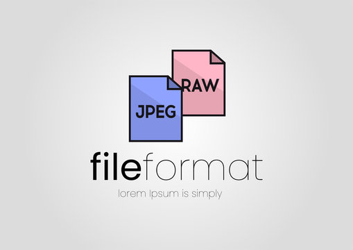 Logo free converter. Logo with paper and image format lettering. Logo for a free image format converter