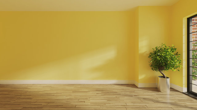 yellow wall with wooden parquet floor and sunlight from window on the wall realistic 3D rendering
