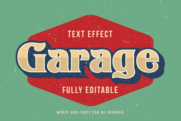 Fototapeta Vintage text effect template with 3d style editable font effect obraz