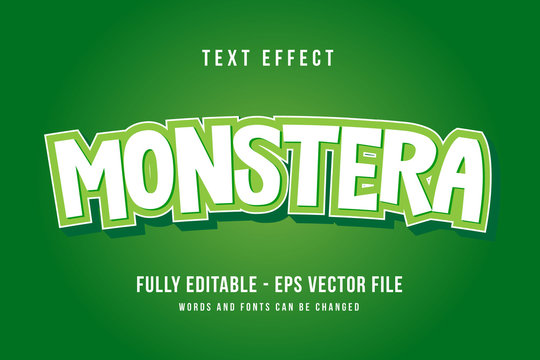 Monster text effect template with 3d style editable font effect