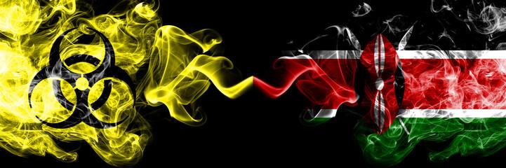 Quarantine in Kenya, Kenyan. Coronavirus COVID-19 lockdown. Smoky mystic flag of Kenya, Kenyan with biohazard symbolplaced side by side. Wall mural