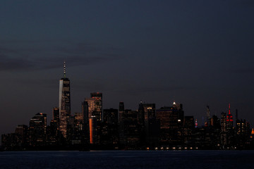 The Manhattan skyline is seen during sunset from the Brooklyn borough of New York City, during the outbreak of the coronavirus disease (COVID-19)