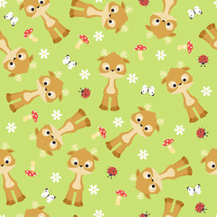 Kawaii baby deer seamless vector pattern