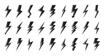 Clyph lightning bolt icon set. Electrical strike sign or energy symbol and thunder electricity. Template design logo voltage and power fast speed. Flash emblem shiny shock Isolated vector illustration