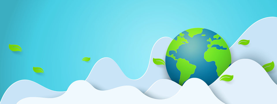 Paper art of green nature and world environment day concept background template.