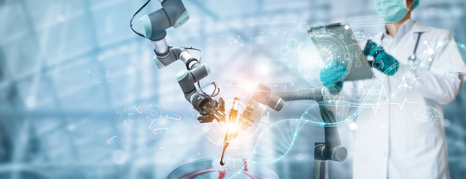 Robotics and doctor research and analysis checking coronavirus or covid-19 testing result on interface, To make a vaccine and inhibition of disease outbreaks, Science and Medical technology.