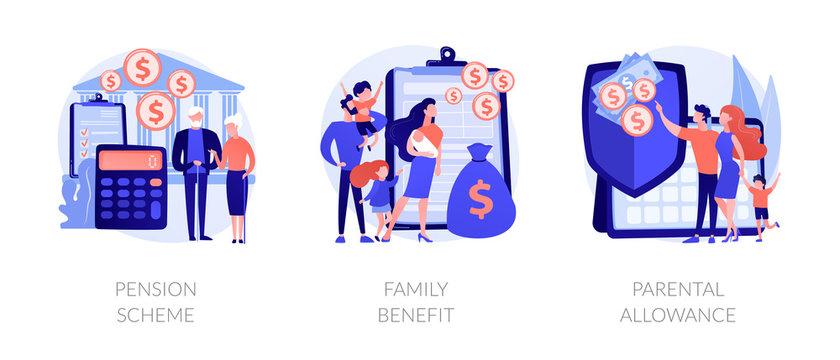 Social security payments metaphors. Family tax benefit, pension scheme, parental allowance. Money support for raising children, insurance abstract concept vector illustration set.