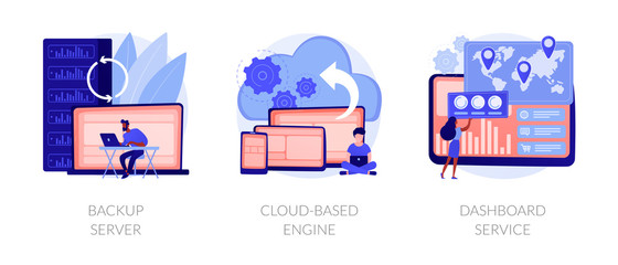 Data hosting technology. Cloud computing security. Remote access, network storage. Backup server, cloud-based engine, dashboard service metaphors. Vector isolated concept metaphor illustrations Fototapete