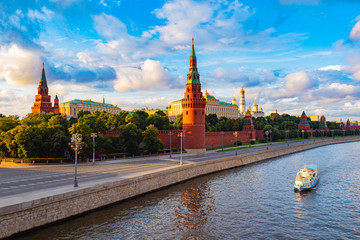 Printed kitchen splashbacks Moscow Moscow. Russia. View of the Moscow Kremlin from the Moscow river. Red brick towers. Grand Kremlin palace. Water trip to the capital of Russia. Bell Tower Of Ivan The Great.