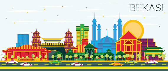 Wall Mural - Bekasi Indonesia City Skyline with Color Buildings and Blue Sky.