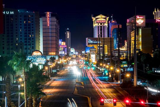 Illuminated Light Trails On City At Night