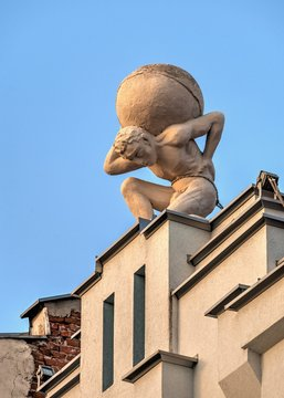 Statue of Atlas on the roof of the building in Plovdiv, Bulgaria